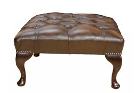 Traditional Chesterfield 100% Genuine Leather Queen Anne Footstool Antique Brown