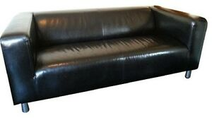 Black faux leather loveseat