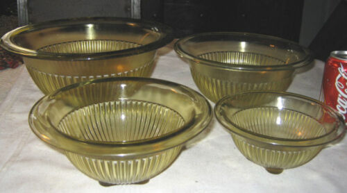 ANTIQUE HOOSIER DEPRESSION GLASS MIXING NESTING BOWL COUNTRY KITCHEN BATTER SET
