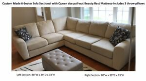 Custom Made 6 Seater Sofa With Queen Size Pullout