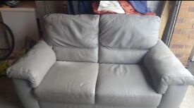 Real leather grey 2 seater sofa
