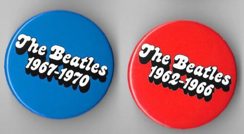THE BEATLES - RED/BLUE 2 Promo Buttons
