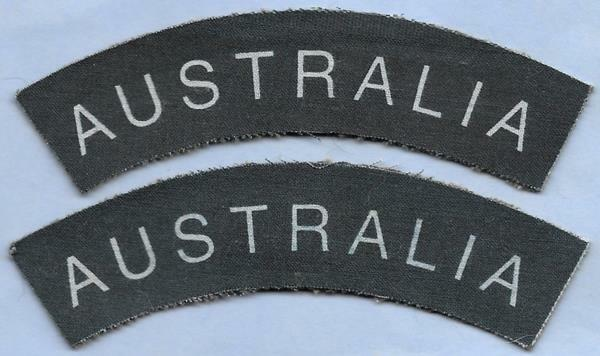 British Military Repro Printed Title Patch Pair--AUSTRALIA Air Force RAAF WWII