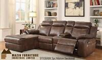 50% OFF Until August 27, 2016-- NEW Floor Model Motion 2pc Sectional with console in the loveseat and a push-back Chaise