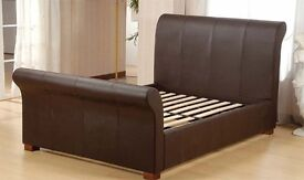 Leather Brown double sleigh bed (frame and slats only)