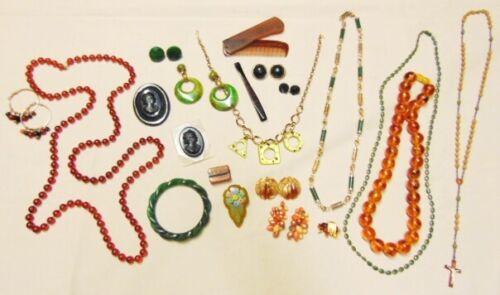 Vtg Jewelry Lot BAKELITE Lucite Plastic Brooches Cameos Bracelet Necklaces ERs