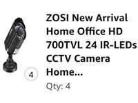 4x ZOSI New Home Office HD 700TVL 24 IR-LEDs CCTV Camera Home Security Day/Ni Waterproof (New)