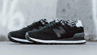 Womens New Balance Sneakers 574 Paint Chip Zig Zag Sz 6.5 Shoes Black White