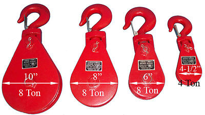 4.5 X 4 Ton Sheave Snatch Block Wire Rope Hoist Rig-ging Hook - Free Shipping