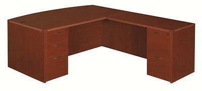 Amber Cherryman Executive Bow L Desk with 2 pedestals of drawers Drawer Pedestal Executive Desk