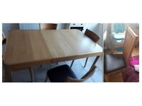 John Lewis Domino Oak Extending Dining Table & 6 Oak & Brown Leather Chairs FREE DELIVERY 371