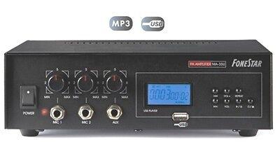AMPLIFICADOR MEGAFONIA 30W ENTRADA USB MP3 MICRO AUX 4-8-16R Y LINEA 100V...