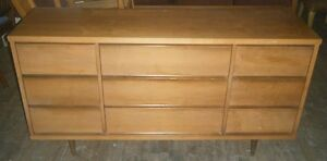 Lovely long 9 drawer wood dresser