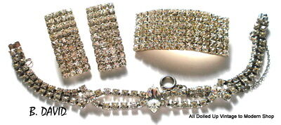 VINTAGE GLAM LOT CRYSTAL RHINESTONE BROOCH EARRINGS SET B DAVID BRACELET