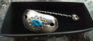 Sterling silver and turquoise hair clip