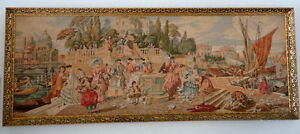 Framed Victorian Tapestry European Men Women at Venetian Harbor London Ontario image 2