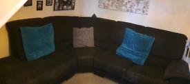 Very large corner sofa black