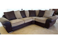 Beige/Brown Corner Sofa. Can Deliver