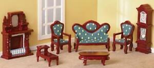 Victorian Style Miniature Living Room Dollhouse Furniture (7 PC Set) 1:12
