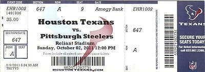 HOUSTON TEXANS VS. PITTSBURGH STEELERS 10/2/11 2011  STUB UNUSED TICKET NFL