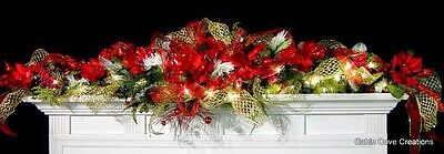 Christmas Bling Mantel Garland Magnolia red gold green prelit Custom decorated