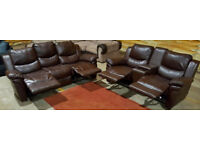 Recliner 3 & 2 seater leather sofas