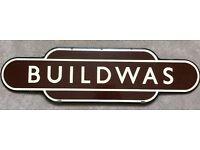Enamel Buildwas Railway Totem