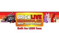 LEGO 'BRICK LIVE' EVENT TICKET. SUN 29 OCT 10.30-5PM - BIRMINGHAM NEC