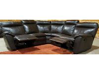 Genuine Leather Recliner Corner Sofa - Brown.