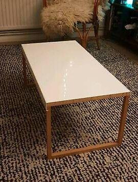 Habitat Coffee Table White Metal and Wood