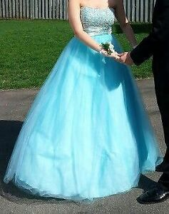 Size 12 Light Blue Ball Gown Prom Dress