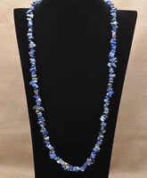 New- Natural Lapis Lazuli Chip Gemstone Necklace. 34 1/2 inches