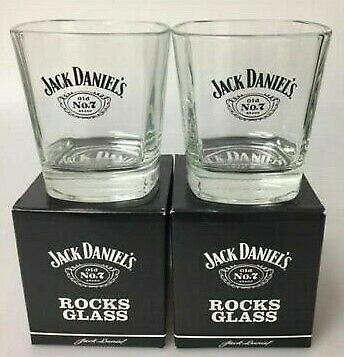 Pair Of Official Jack Daniel's Whisky Rocks Glass Tumbler Glasses