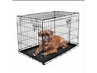 Large fold flat puppy/dog crate with plastic tray - £20 each - 2 available