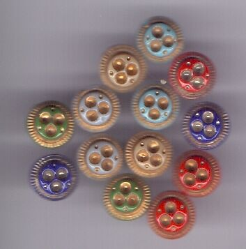 13 diminutive glass vintage buttons