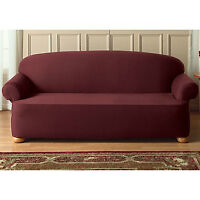 Madison Ind. Solid Color Jersey Sofa Slipcover-Ruby/Linen, New