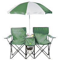 Outdoor Spirit Folding Chairs with Umbrella Green, New