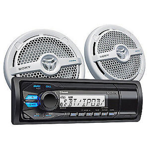 Sony Bluetooth Marine Stereo with Speakers Pair