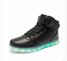 Led light up shoes high top trainer black size uk 2