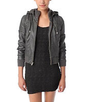 Manteau faux cuir Sparkle & fade faux leather hooded bomber