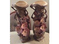 Pair of Antique Royal Dux Art Nouveau Vase With Pink Flowers 16'' High