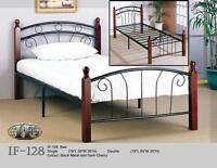 OMG! *NEW* IN BOX SINGLE METAL CHERRY WOOD BED $99.