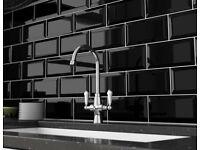 B&Q COLOURS UNDERGROUND BLACK CERAMIC WALL TILES X 40 KITCHEN BATHROOM CLOAKROOM SIZE 20cm x 1Ocm £5