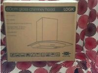 Brand new LOGIK 60cm glass and stainless steel cooker hood model no. L6CHDG14