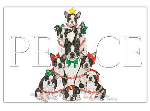 Boston Terrier Christmas Cards Set of 10 cards & 10 envelopes