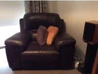 Brown Leather Settee and 2 arm chairs