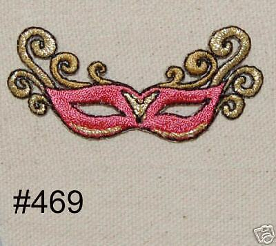 MASK~IRON ON EMBROIDERED PATCH (Pink Mardi Gras Mask)