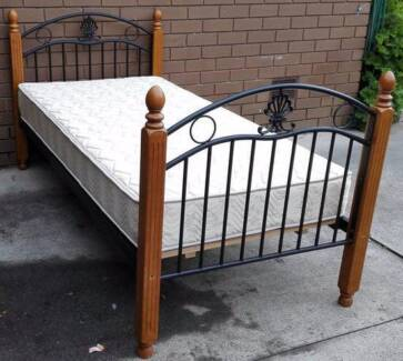2xmetal and timber single bed frame with mattress, $140each