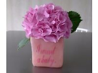 Pink Silicone Designer Vase, Desk Tidy, Wish or Money Box with text 'I want a Baby' - Very COOL