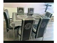 🥰✨LIMITED TIME OFFERS BRAND NEW EXTENDABLE DINING TABLE & CHAIRS WITH VERSACE DESIGN